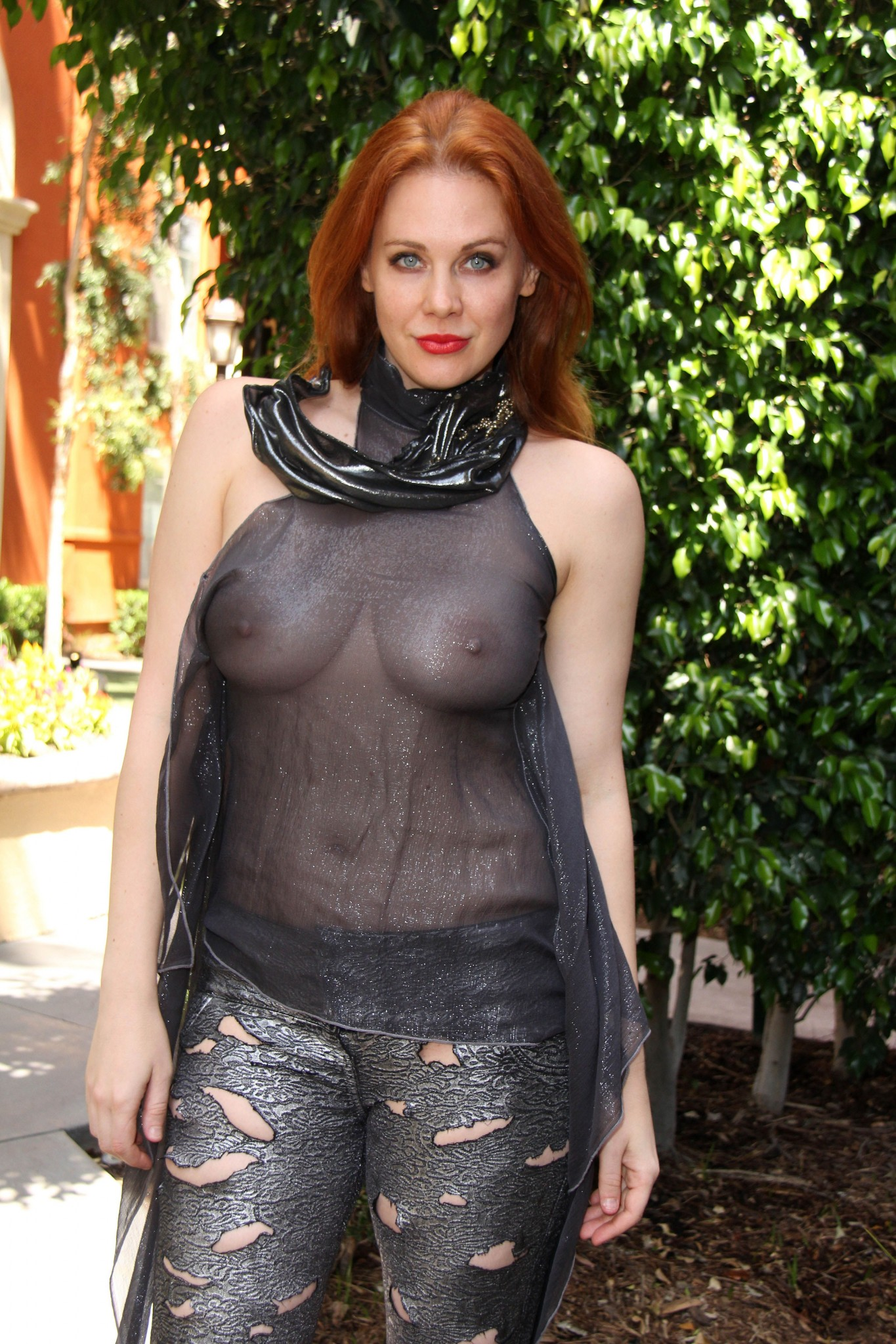 Maitland Ward see through cosplay lingerie at Comic Con
