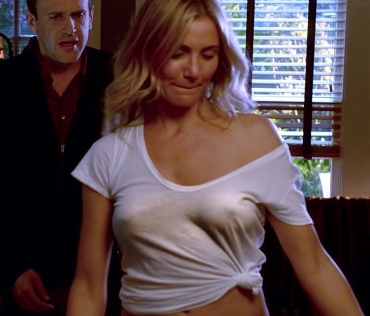 Cameron Diaz braless in ultra thin white see-thru shirt, making her sexy  boobs almost completely visible - GALLERY