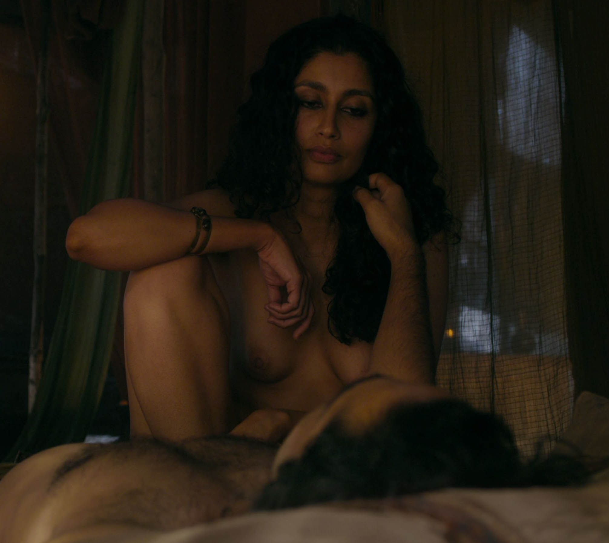 Exotic hot babe Karishma Ahluwalia has her nice boobs breasts topless in TV hit Marco Polo