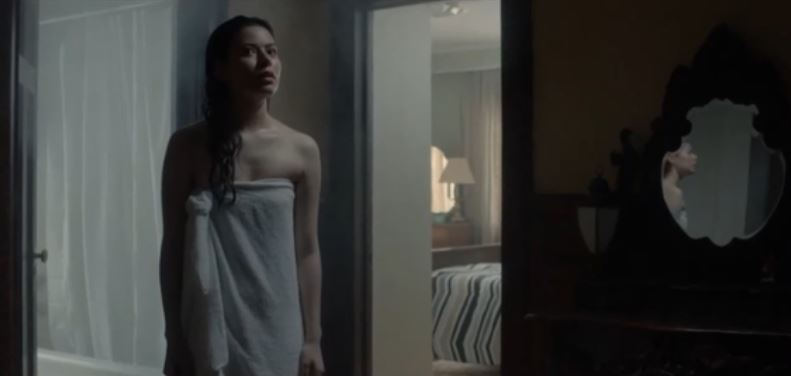 Miranda Cosgrove just out of shower only wearing a towel