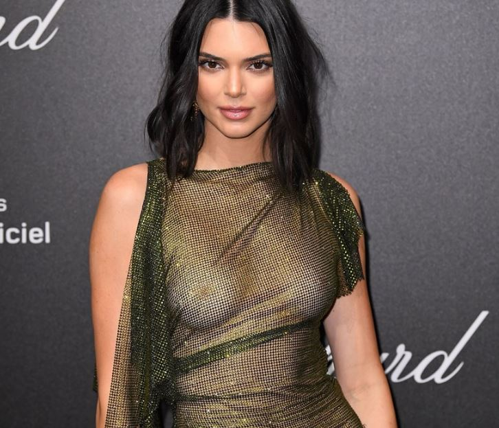 Kendall Jenner boobs and nipples see through dress at Cannes