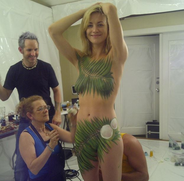 Yvonne Strahovski naked body paint celebrity