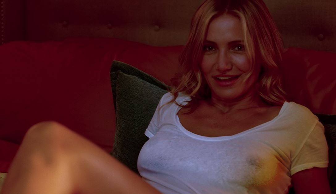 Cameron Diaz braless see-thru boobs in white shirt. Hard nipples celebrity tits!