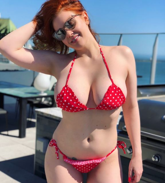 Lingerie and see through busty redhead Maitland Ward